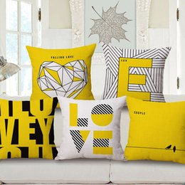 "Wholesale Plains Ga - Wholesale- Pillow Case Square 18"" Love Printed Pillow Cover Yellow Decorative Pillow Covers Customized Drop Shipping Fundas De Cojin De Ga"