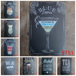 Wholesale Sticker Tea - Bahama Tea Wine Wifi Beer Vintage Craft Tin Sign Retro Metal Painting Poster Bar Pub Signs Wall Art Sticker