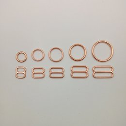 Wholesale Bra Sliders - Various size of bra rings and sliders 50 sets   lot in rose gold free shipping