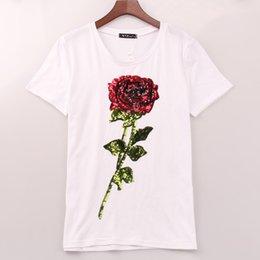 camisetas florales ropa al por mayor Rebajas Venta al por mayor-2016 camiseta de la venta de las mujeres ROSE lentejuelas camiseta de impresión de moda casual verano nuevas camisetas tops mujeres mujer Sakura ropa