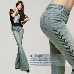 Wholesale Vintage Spandex Pants - Wholesale- Free Shipping 2017 New Fashion Long Spring And Summer Bell-bottom Jeans Boot Cut Women Slim Long Trousers Lacing Up Flare Pants