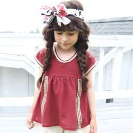 Wholesale Solid Red Baby Top - Everweekend Cute Baby Girls Vintage Embroidered Cotton Tees Summer Candy Color Red and White Western Classic Blouse Tops