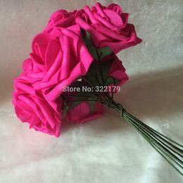 Wholesale Hot Pink Fuschia Wedding - estive Party Supplies Decorative Wreaths 2015 New Hot Pink Brides Bouquet Flowers Artificial Fuschia Rose Wedding Floral Arrangement Bri...