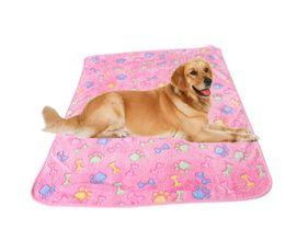 Wholesale Fleece Animal Throw - 2017 New 3 Sizes Cute Pet Warm Bone Paw Print Dog Puppy Fleece Soft Blanket Beds Mat Blanket Pet Products Autumn Winter mat