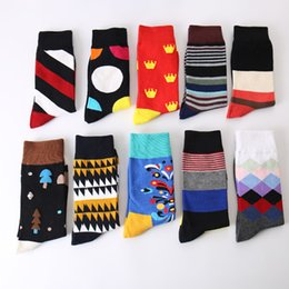 Wholesale Men Colorful Socks - Cotton Gentlemen Business Leisure Men's Socks Fashion Colorful Quilted Jacquard Line Hit Color Happy Socks
