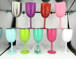 Wholesale Decoration Bottle Wine - 2017 Hot 10oz Stainless Steel Wine Glass Cups 9 Colors Double Wall Insulated Metal Goblet With Lid Colster Bottle Red Wine Mugs