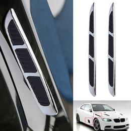 Wholesale Air Vent Grille - Wholesale- 2 pcs Super 3D Silver Car Chrome Grille Shark Gill Simulation Air Flow Vent Fender Sticker