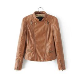 Wholesale Stylish Women S Coats - 2016112113 New Fashion Ladies Motorcycle PU leather Jacket stylish coat vintage hot long sleeve outwear casual slim brand zipper tops