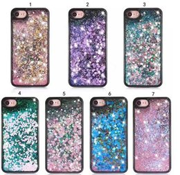 Wholesale 3d smart phones - For Smart phone Quicksand Case For Iphone 7 3D Liquid Case Soft TPU Floating Glitter Star Case For Samsung Galaxy S7 OPP package