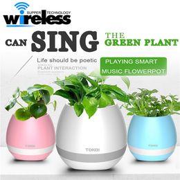 Wholesale Pink Pots - Plastic white pink blue cute music bluetooth speaker flower pot planter nursery pots for home office decoration musical speakers