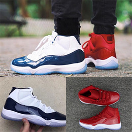 Wholesale Mens Shoes - 11 XI Gym Red Chicago Bred Midnight Navy WIN LIKE 82 UNC Space Jam 45 Blackout Mens Basketball Shoes 11s Athletic Sport Sneakers
