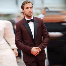 Wholesale Maroon Jacket - Wholesale- 2017 New Tuxedos Jacket Burgundy Tuxedo Jacket Wedding Suits For Men Custom Made Maroon Prom Dress Mens Suits Slim Fit Blazer