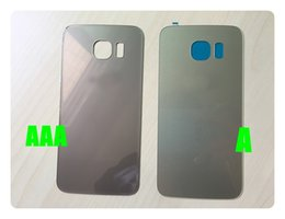 Wholesale Door Glass Sticker - Black white Blue Golden Glass Battery Cover For Samsung Galaxy S6 G9200 S6 edge plus S7 edge Battery Door Back Housing Cover with Sticker
