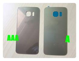 Tapa de batería de cristal negro / blanco / azul / dorado para Samsung Galaxy S6 G9200 S6 edge plus S7 edge Tapa de la batería Parte posterior de la cubierta de la batería con etiqueta desde fabricantes