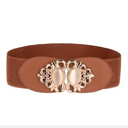 Wholesale Rhinestone Stretch Belt - Wholesale- Women Rhinestone Leather Belt Women Lady Double Heart Elastic Stretch Buckle Waistband Waist Belt Ceinture Femme #2415