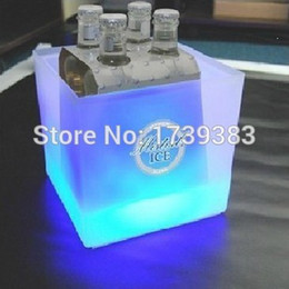 Wholesale Colorful Pails Wholesale - Wholesale- Plastic Square LED Ice Bucket capacity 3.5L Double Layer Event Club Bars LED Beer Colorful Flash Light Pail ice cooler