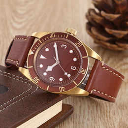 Wholesale Mens Dress Watches Leather Strap - hot sale fashion new AAA luxury brand watches men TD black bay red leather strap gold case watch automatic watch mens dress watches