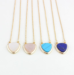 Wholesale Pink Gemstone Pendants - Fashion gold plated natural stone necklaces Turquoise lapis lazuli pink crystal heart gemstone pendant necklace for women