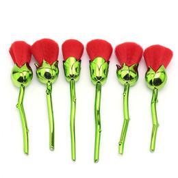 YENI Çiçek fırça Makyaj Fırça Toz Kontur seti Plastik Saplı Naylon Saç KıRMıZı Stok OEM Gül 6 adet DHL nereden