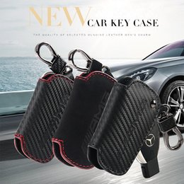Wholesale Chain S - Carbon Fiber Skin Car Key Ring Chain Auto Keys Case Cover Key Protector for Mercedes Benz AMG A C E S GLA GLC CLA