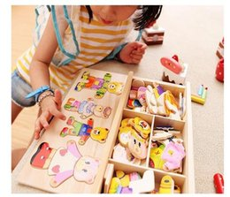 Wholesale Block Jigsaw Puzzles - Wooden baby bear children change the clothes boy baby puzzle jigsaw puzzle building block 1-2-3-4