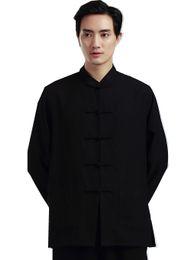 Wholesale Tai Chi Clothing Linen - Shanghai Story Martial Arts Shirt For men Tai ji clothing Shirt kungfu Top Linen chinese kung fu Shirt Man Tai Chi CLothes 2 color