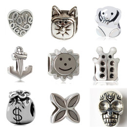 Wholesale Silver Clover Bead Charms - Charm Bead Alloy 925 Silver Fashion Jewelry Love Heart Bear Bug Anchor Cat Skull Lucky Clover Sun Money Bag For Pandora Bracelet M003