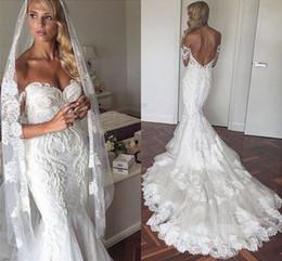 Wholesale Lace Off Shoulders Wedding Dress - Off the Shoulder 2017 New Mermaid Wedding Dresses Backless Vintage Lace Dubai Court Train with Appliques Bridal Gowns Vestido De Novia