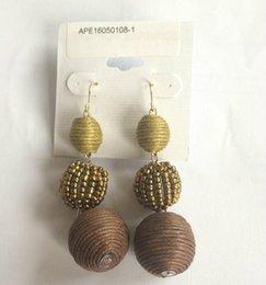Wholesale Custom Acrylic Earrings - fabric thread earring metal tassel custom made earrings GOLD EARRING COTTON SEED BEAD- MIX GREY , MGY
