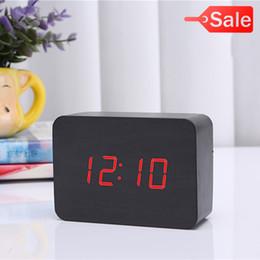 Wholesale Table Calendar Desk - 2017 BLACK RED Display Wood USB Alarm Clock Wooden LED Digital Alarm Clock For Kids Morden Electronic Desk  Table Child Clock CYP-012