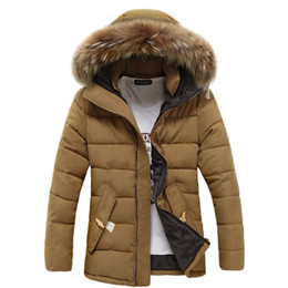 Wholesale Winter Jacket Fur Wadded - Wholesale- Fur Collar Long Winter Jacket Men Stand Collar Warm Thick Solid Man Parkas Cotton Wadded Brand Men's Down Coat Y1025-120D