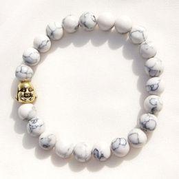 Wholesale Elastic Charms - Hot Sale White Turquoise Bracelet Gold Plated Buddha Charm Bracelet Bangle for Women Men Elastic Bracelets Jewelry