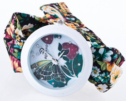 Wholesale Fabric Flowers Wholesale Price - factory wholesale cheap price fashion colorful flower clothing strap watches for women lady girls free shipping