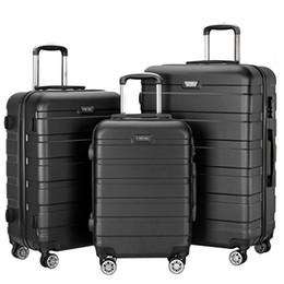 """Wholesale Luggage Locks - 3 Piece Lightweight Carry on Luggage Set Spinner Suitcase ABS School 360 Degree Rotating Wheels Rolling Trolley (20"""", 24"""", 28"""") with Lock US"""