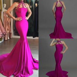 Wholesale Modal Dresses - Long Mermaid Evening Dresses Sheer High Neck Illusion Back Prom Dresses with Lace Appliques Sexy 2017 Fuchsia Formal Evening Gowns