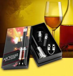 Wholesale Wine Foil Cutters - party favors gift for wedding Wine Accessory 4 Pc Set, Barware, Bar tool, Air Pressure Corkscrew, Foil Cutter, Wine Pourer, Vacuum Stopper