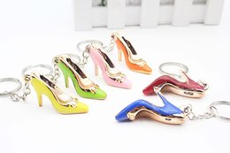 Wholesale Mini Keychain Ring - High heels keychain Advertising activity promotion small gift Mini High Heel Shoe key ring buckle hanging simulation small shoe decoration