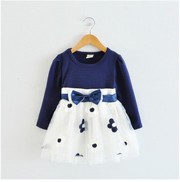 Wholesale Silk Flowers For Clothes - Wholesale- 2016 Fall Cute Baby Girls Autumn A-line Bow Tie Baptism Outfits Long Sleeve Flower Patten Princess Tutu Dress For Girls Clothing