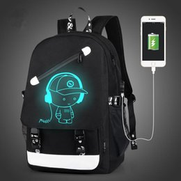 Wholesale Wholesale China Backpack - Men Backpack Fashion with External USB Charging charger function Laptop Mochila Cartoon Anime Luminous School Noctilucent Bags