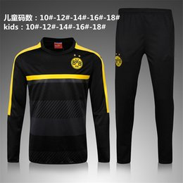 Wholesale Black Track Suits - 2017 kids Tracksuit KAGAWA Soccer Hoodie Jacket Jogging Football Black Yellow AUBAMEYANG PULISIC Training Suit yonth Football Track Suit