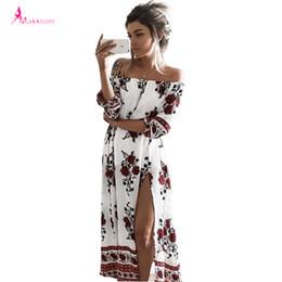 Wholesale Dots Polka Waist Dress - Wholesale- summer women's print slash neck off the shoulder bohemian beach dress casual long maxi high waist women split dresses clothing