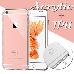 Wholesale Case Cover Dustproof Plug - Ultra Thin Slim Acrylic Hard Back TPU Soft Border Dustproof Plug Crystal Clear Transparent Cover Case For iPhone 8 7 Plus 6 6s SE 5S 5