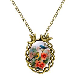 Wholesale Glass Pendant Jewelry China - Summer Style Jewelry Vintage Antique Bronze Oval Flower Bird Alloy Pendant Necklace Glass Cabochon Statement Necklace for Women