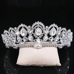 Wholesale Tiara Beaded Veils - Sparkle Beaded Crystals Wedding Crowns 2017 Bridal Crystal Veil Tiara Crown Headband Hair Accessories Wedding Party Tiara