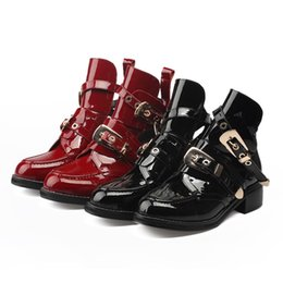 Wholesale Womens Tops Size Large - Womens Motorcycle Boots Metal Buckle Europe Us Top Fashion Holes Martin Boots Ladies' Spring Summer Autumn Large Size Shoes