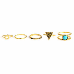 Wholesale Square Punk Rings - 5pcs set Ancient Silver Triangle Square Stone Midi Rings Set Gold Vintage Punk Knuckle Ring For Women Finger Boho Beach Jewelry