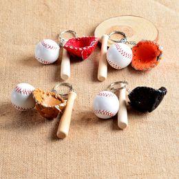 Wholesale Baseball Bat Holder - Mini Three-piece Baseball glove wooden bat keychain sports Car Key Chain Key Ring Gift For Man Women wholesale 10pcs