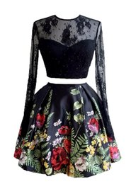 Wholesale Long Line Skirt Pattern - Elegant Jewel Neck 2018 Lace Homecoming Dresses Two Pieces A-line Short Floral Printed Skirts Long Sleeves Girls Prom Dresses Hot Host Gowns