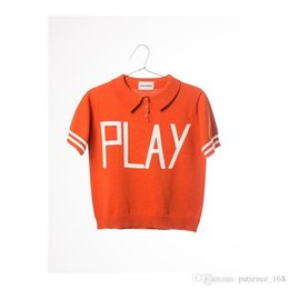 Wholesale Free Short Plays - 2 color bobo ins hot selling play letter print 100% cotton turn down collar short sleeve knitted t shirt free shipping