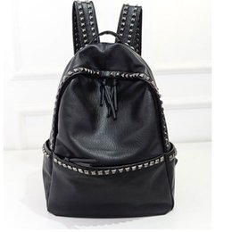 Wholesale Korean Large Fashion Bags - Wholesale- Korean Style Large Size School Bags For Teenage girls Lady PU Leather casual Rivet Backpacks Womens Waterproof Big Travel Bags